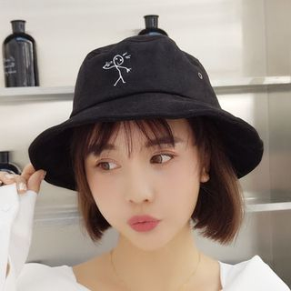 Embroidered Cartoon Faux Suede Bucket Hat from Oktokki