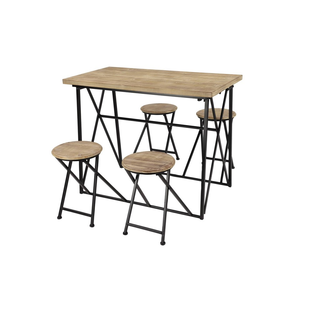 Dining Table Set with Retractable Nesting Stools Light Brown - Olivia & May from Olivia & May