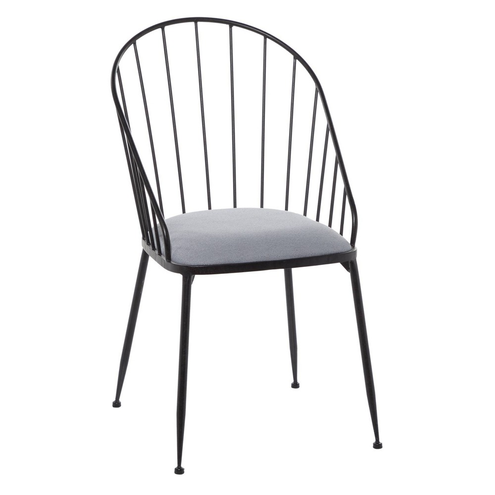 Fabric and Metal Dining Chair Black - Olivia & May from Olivia & May