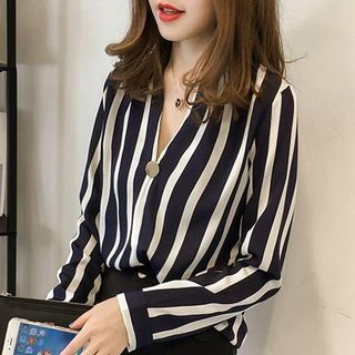 Striped V-Neck Blouse from Onnell