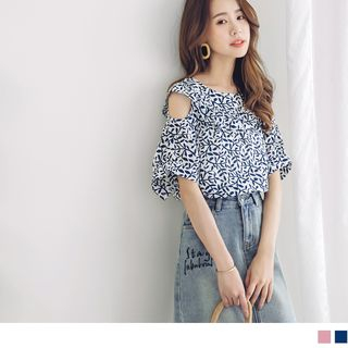 Cold Shoulder Print Top from OrangeBear