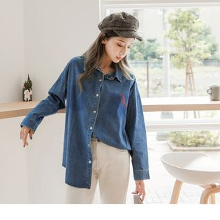 Letter Embroidered Denim Boxy Shirt from OrangeBear