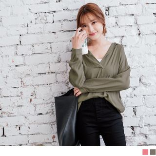 Long Sleeve Deep V-Neck Dip Back Loose-fit Blouse from OrangeBear