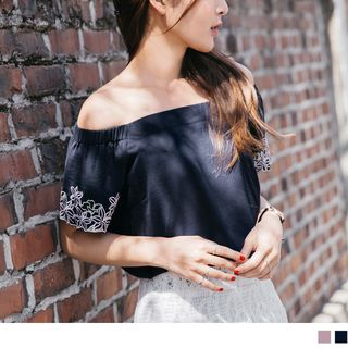 Off-Shoulder Embroidered Cuff Top from OrangeBear