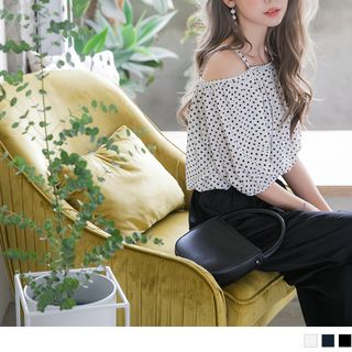 Off-Shoulder Spaghetti-Strap Dot Print Top from OrangeBear