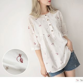Snail Embroidered 3/4-Sleeve Blouse from OrangeBear