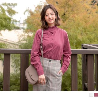 Stand Collar Long Sleeve Blouse from OrangeBear