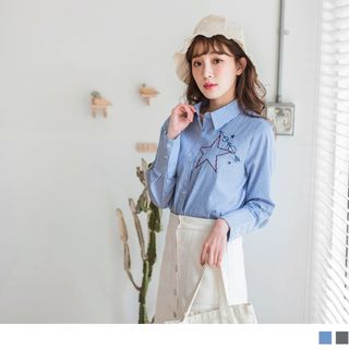 Star Embroidered Striped Shirt from OrangeBear
