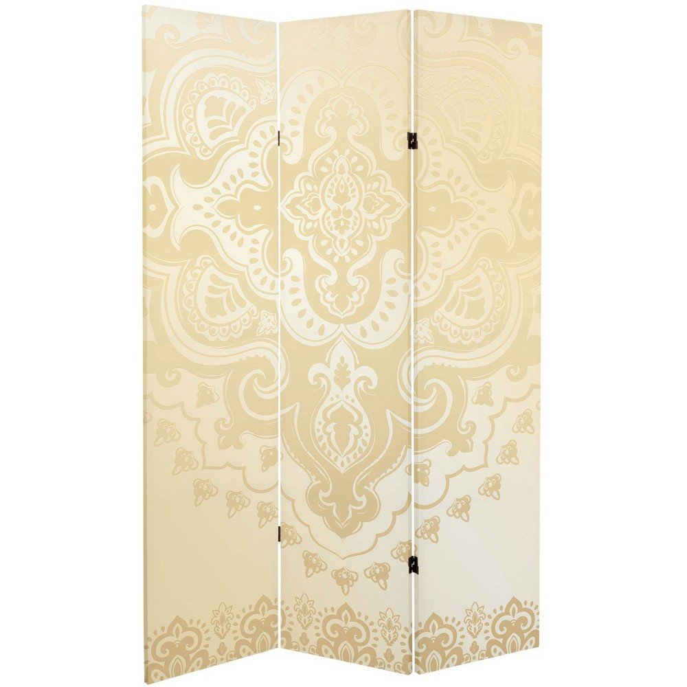 "6"" Double Sided Indian Pattern Canvas Room Divider Ivory - Oriental Furniture from Oriental Furniture"