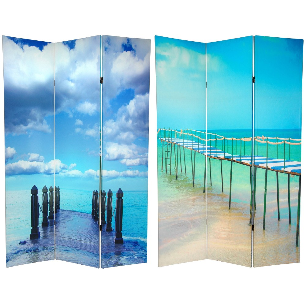 "6"" Double Sided Ocean Room Divider Blue - Oriental Furniture from Oriental Furniture"