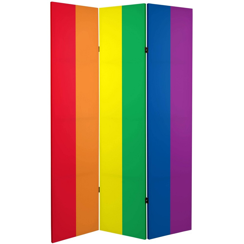 "6"" Double Sided Rainbow Canvas Room Divider Red/Orange/Blue - Oriental Furniture from Oriental Furniture"