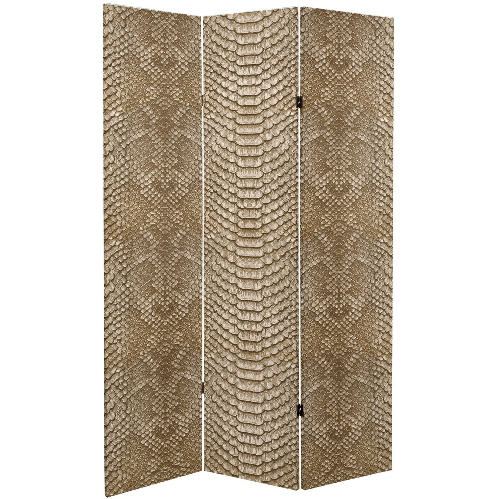 "6"" Double Sided Snake Print Canvas Room Divider Tan - Oriental Furniture from Oriental Furniture"