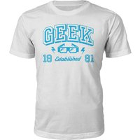 Geek Established 1980's T-Shirt- White - XL - 1981 from Own Brand