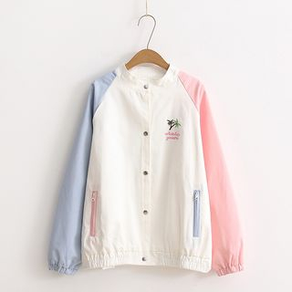 Color Block Embroidered Baseball Jacket from PANDAGO