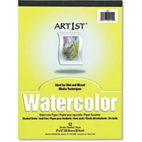 Artist Watercolor Paper Pad, 9 x 12, White, 12 Sheets from Pacon