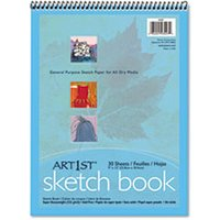 Artist's Sketch Book, Unruled, 80lb, 9 x 12, White, 30 Sheets from Pacon