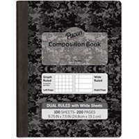 "Composition Book, 7 1/2"" x 9 3/4"", Subject, 100 Sheets, Black from Pacon"