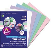 Tru-Ray Construction Paper, 76 lbs., 9 x 12, Assorted Pastel, 50 Sheets/Pack from Pacon