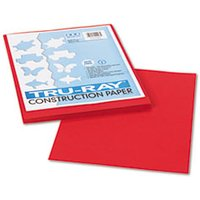 Tru-Ray Construction Paper, 76 lbs., 9 x 12, Holiday Red, 50 Sheets/Pack from Pacon
