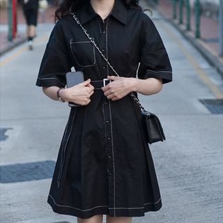 Contrast Stitching Short-Sleeve Shirtdress from Paila