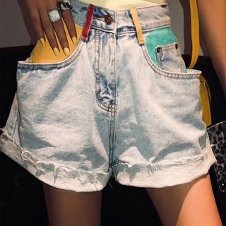 Distressed Color Block Roll Up Denim Shorts from Paila