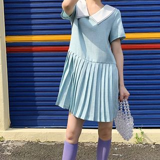Sailor Collar Plaid Pleated Dress from Paila