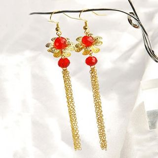 Chinese Floral Tasseled Earrings from Paparazzi