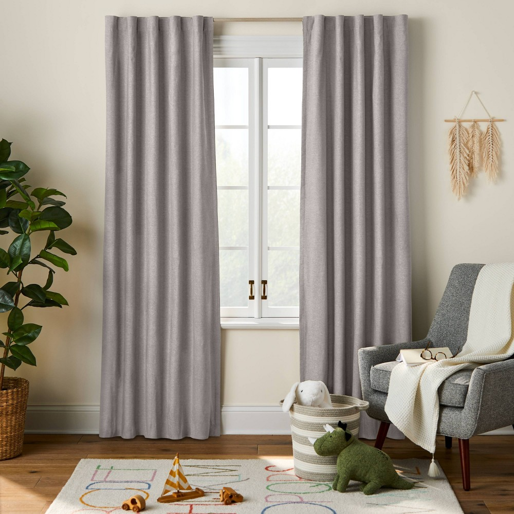 "84"" Blackout Chambray Cotton Panel Gray - Pillowfort from Pillowfort"