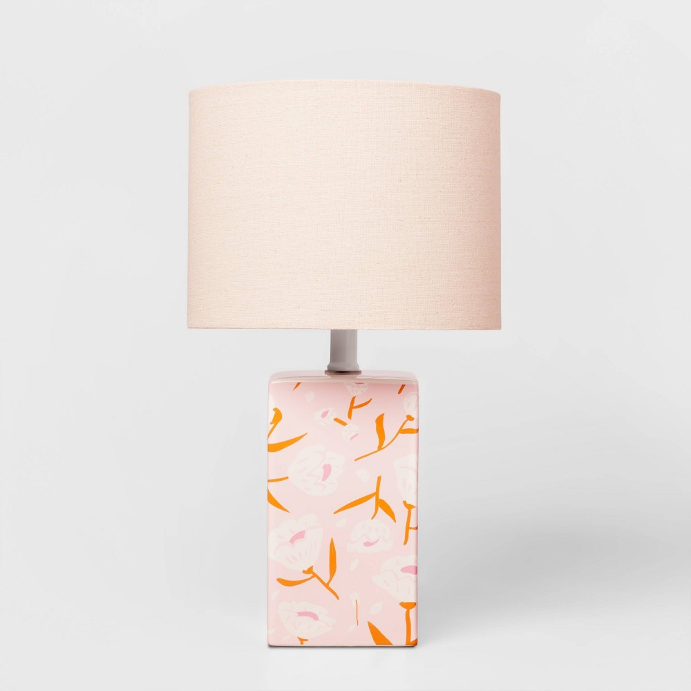 Floral Base Lamp with Cylinder Shade Pink - Pillowfort from Pillowfort
