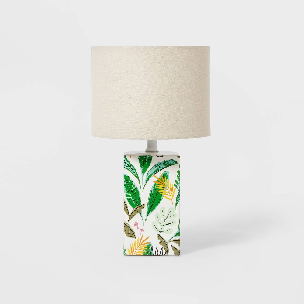 Leaf Base Lamp with Cylinder Shade Green - Pillowfort from Pillowfort