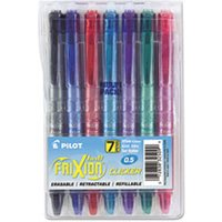 FriXion Clicker Erasable Gel Ink Retractable Pen, Assorted Ink, .5mm, 7/Pack from Pilot