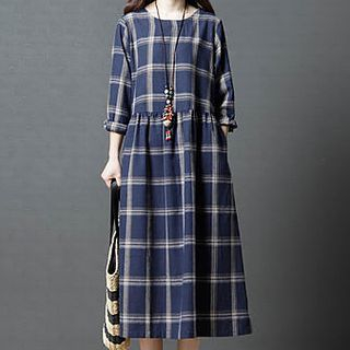 Short-Sleeve Plaid Midi A-Line Dress from Planetary