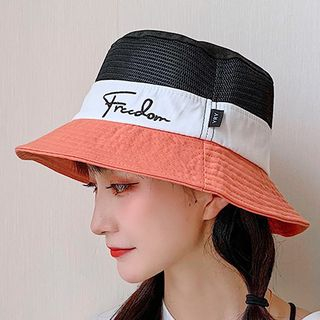 Embroidered Lettering Color Panel Bucket Hat from Pompabee