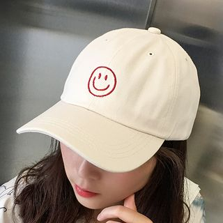 Embroidered Smiley Baseball Cap from Pompabee