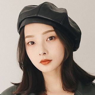 Faux Leather Beret from Pompabee