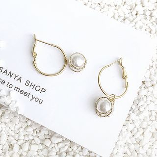 Faux Pearl Hoop Earring Gold - One Size from Pompabee