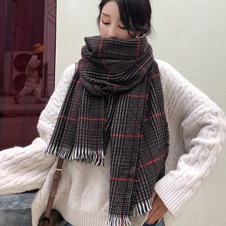 Fringed Plaid Scarf from Pompabee