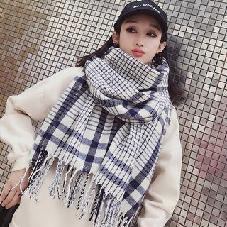 Fringed Plaid Scarf Plaid - White & Blue - One Size from Pompabee