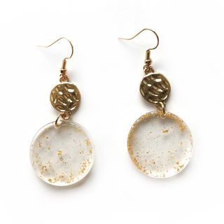 Gold Leaf Acrylic Disc Dangle Earring 1 Pair - Gold - One Size from Pompabee