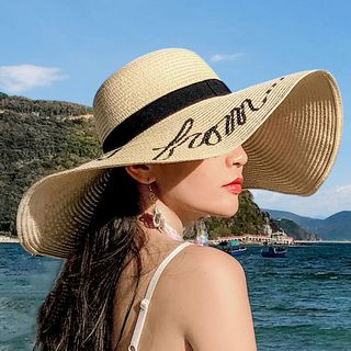 Lettering Straw Sun Hat from Pompabee