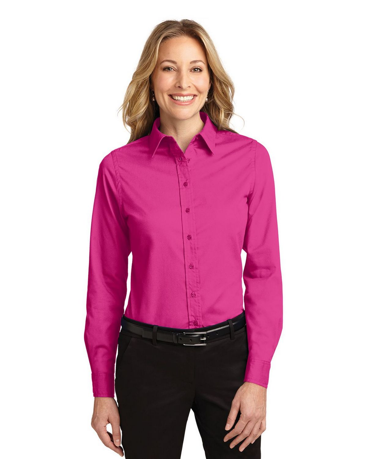 Port Authority L608 Women's Long Sleeve Easy Care Shirt - Tropical Pink - XS from Port Authority
