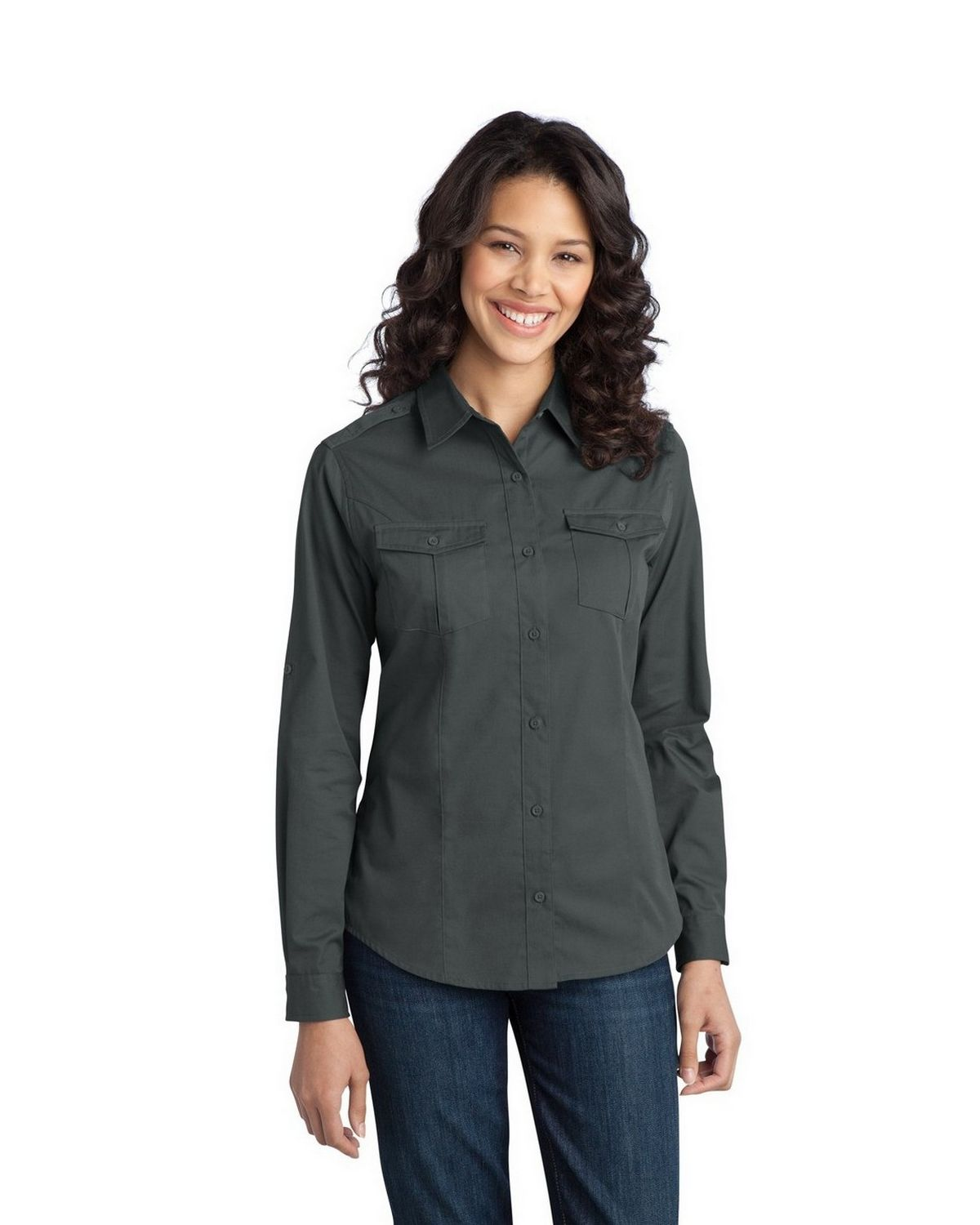 Port Authority L649 Women's Stain-Resistant Roll Sleeve Twill Shirt - Steel Grey - XS from Port Authority