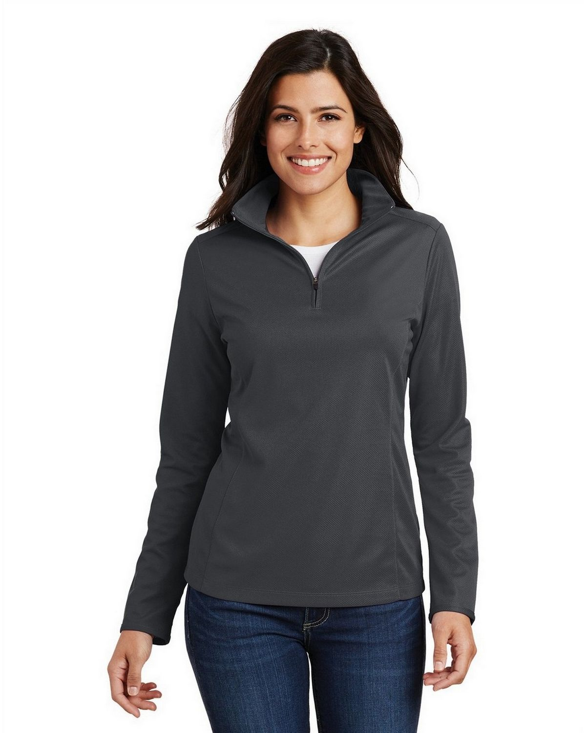 Port Authority L806 Women's Pinpoint Mesh 1/2-Zip - Battleship Grey - XS from Port Authority