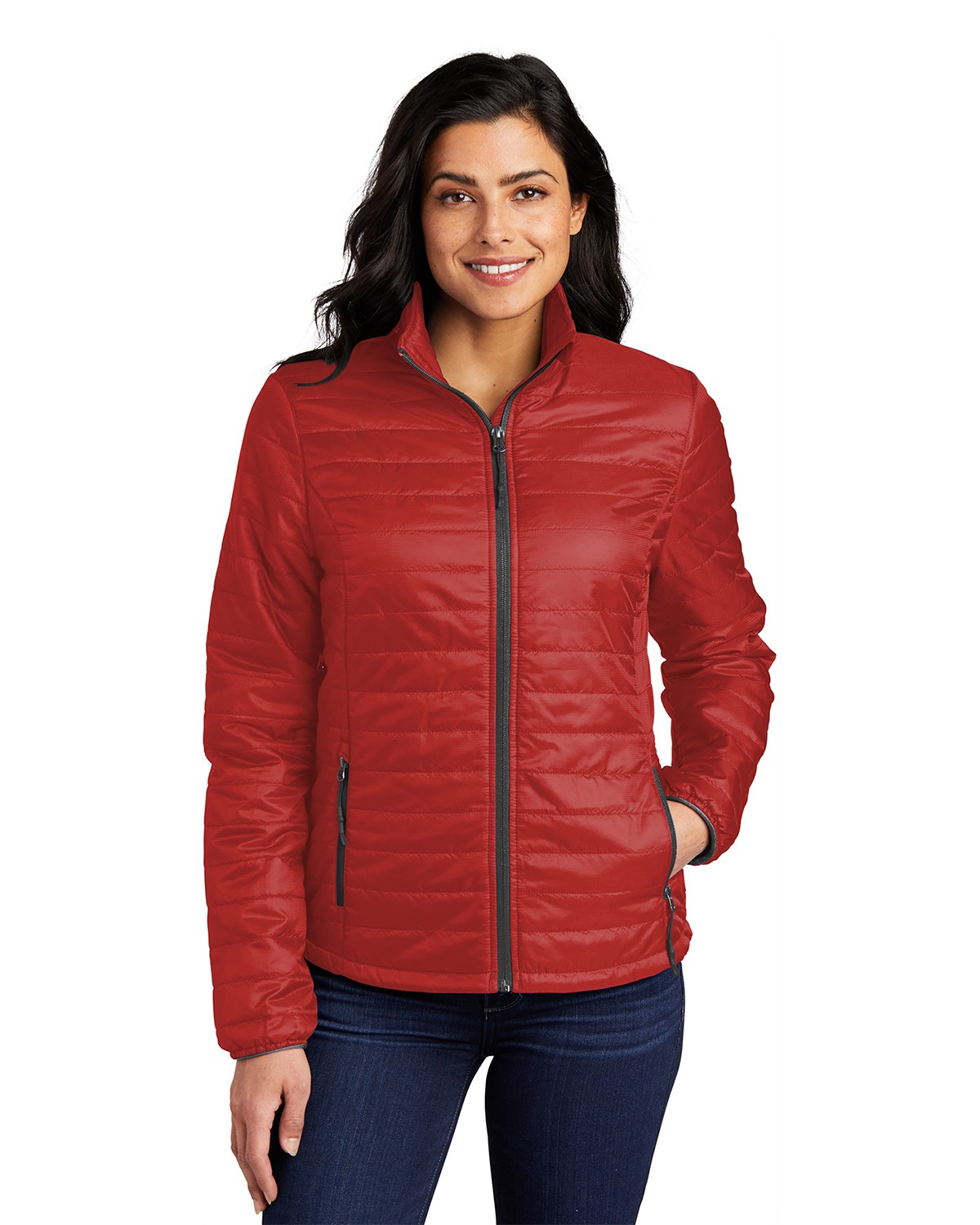 Port Authority L850 Women's Packable Puffy Jacket - Fire Red/ Graphite - XS from Port Authority