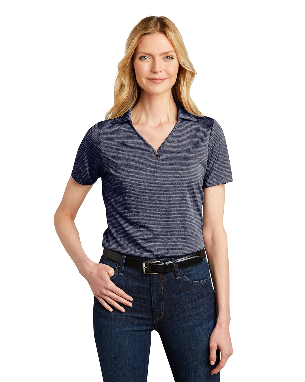 Port Authority LK585 Ladies Shadow Stripe Polo - River Blue Navy - XS from Port Authority