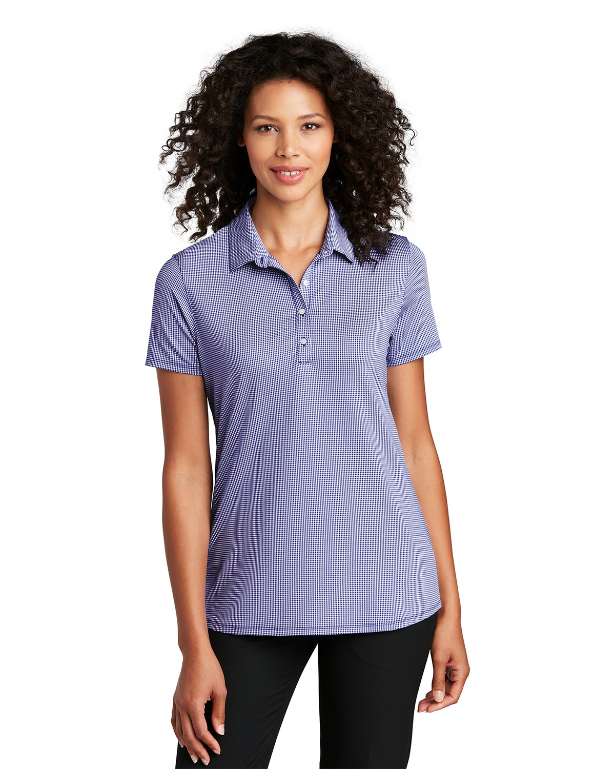 Port Authority LK646 Women's Gingham Polo - True Navy/ White - XS from Port Authority