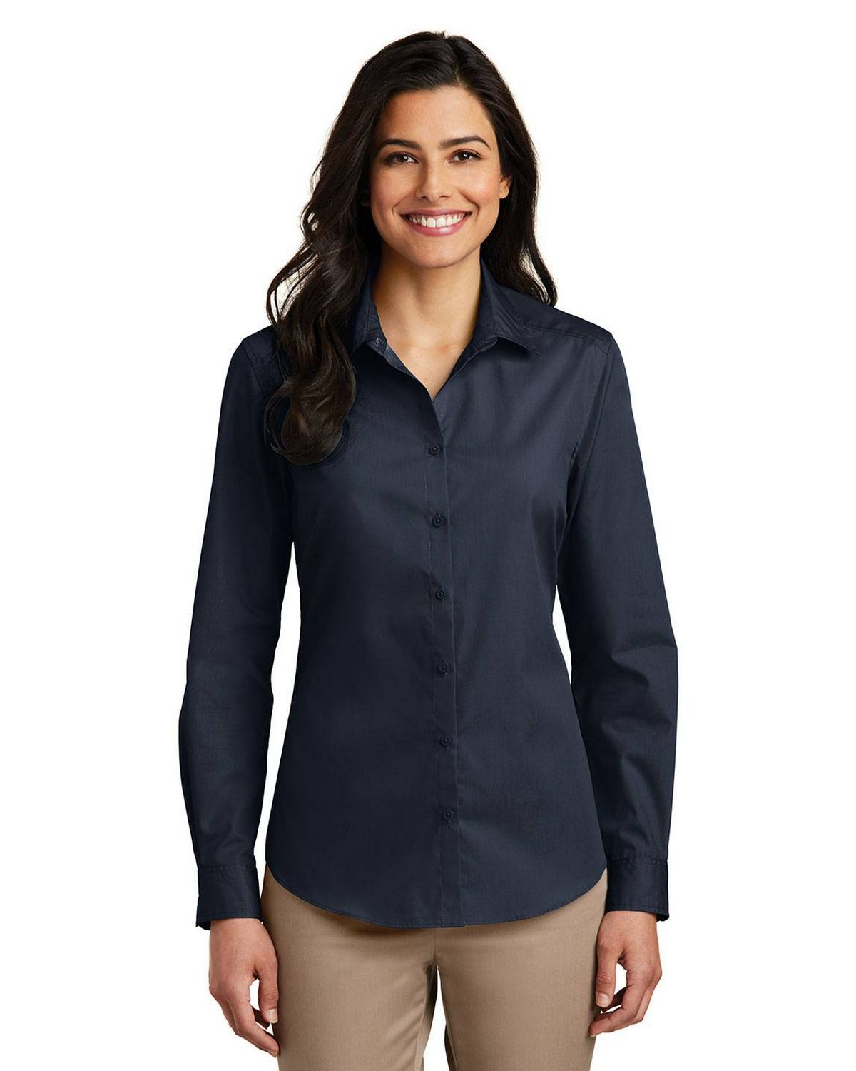 Port Authority LW100 Women's Long Sleeve Carefree Poplin Shirt - River Blue Navy - XS from Port Authority