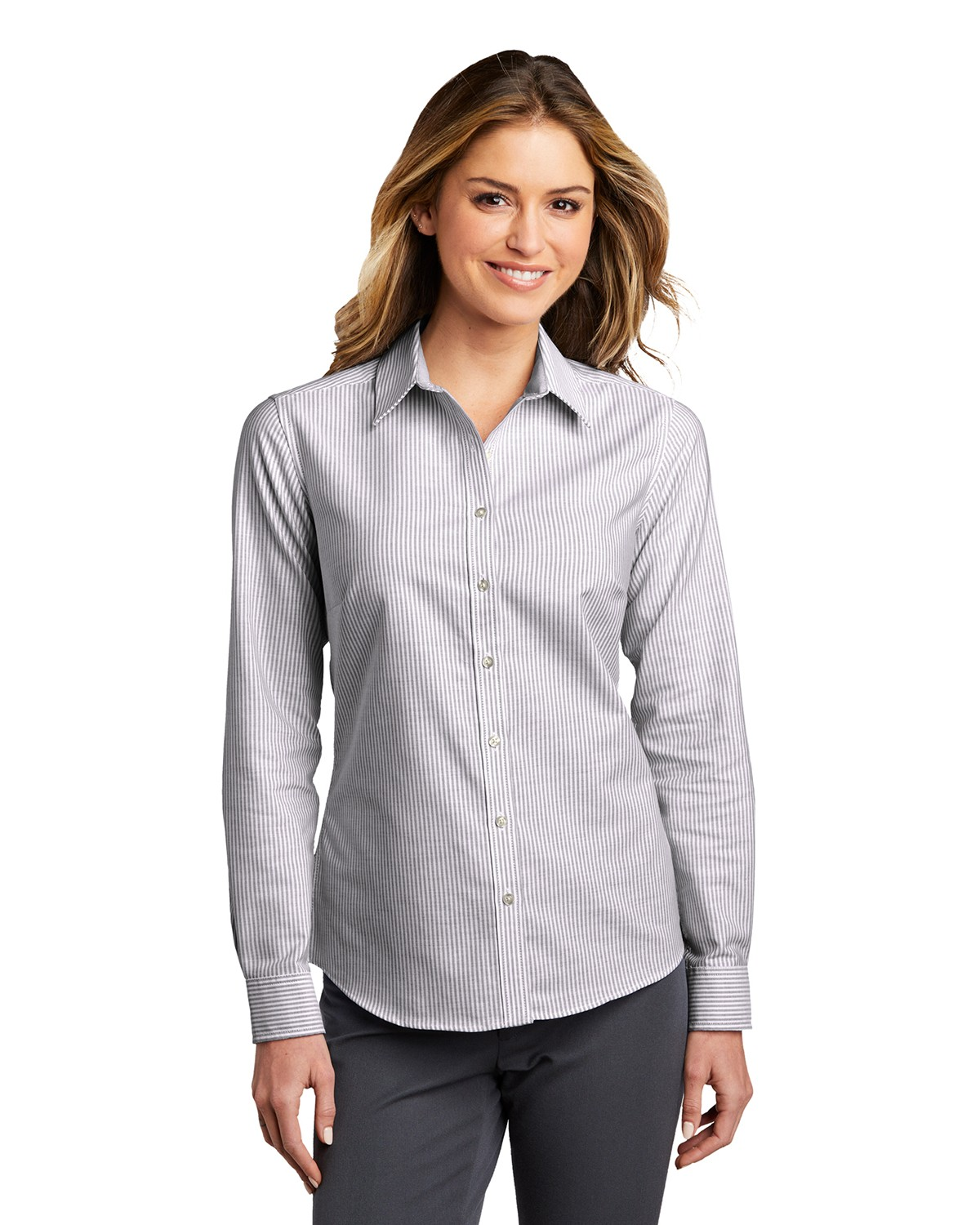 Port Authority LW657 Ladies SuperPro Oxford Stripe Shirt - Black/ White - XS from Port Authority
