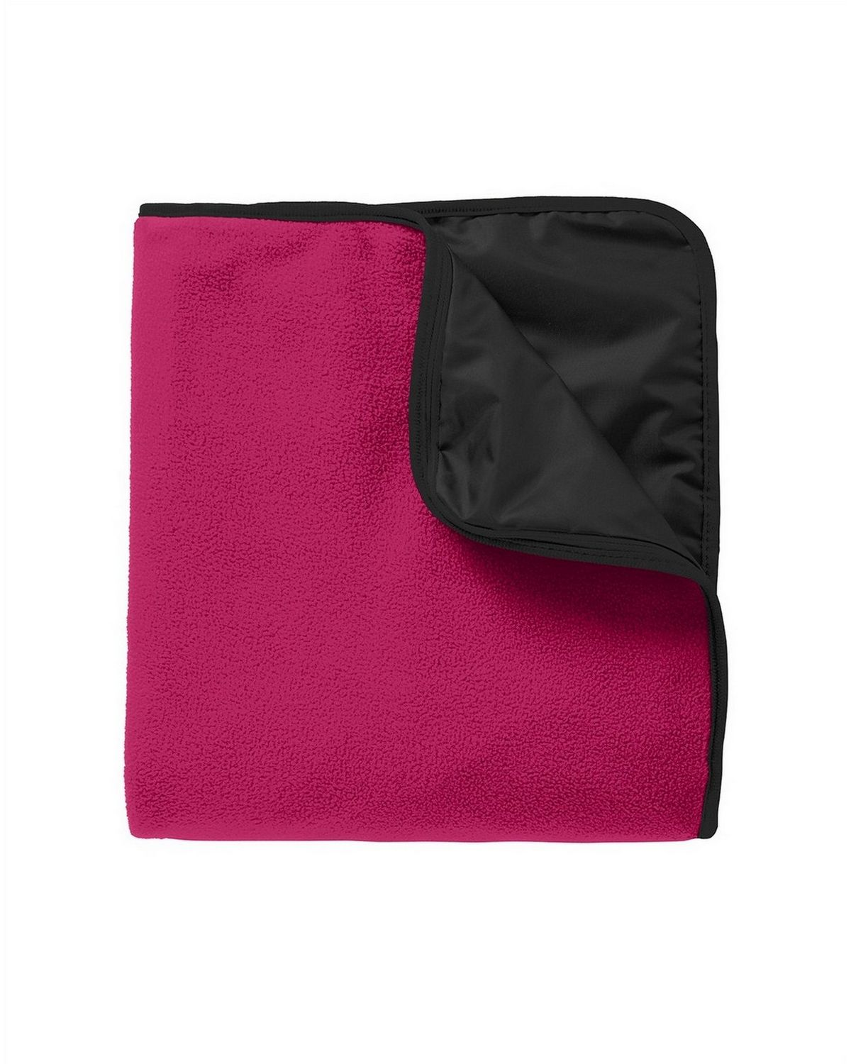 Port Authority TB850 Fleece & Poly Travel Blanket - Dark Fuchsia/Black - One Size from Port Authority