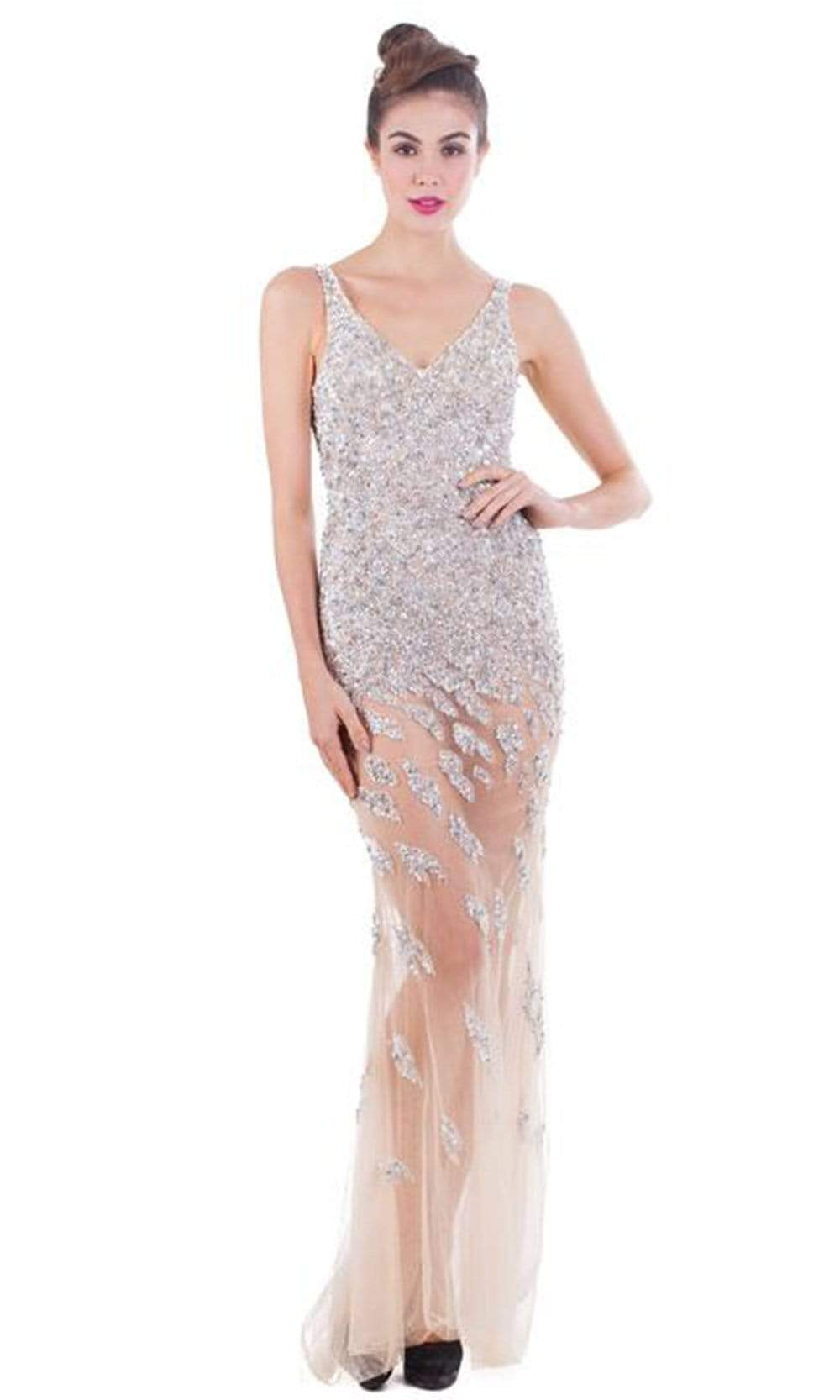 Portia and Scarlett - Jovania Crystal Sequined V Neck Sheath Dress from Portia and Scarlett